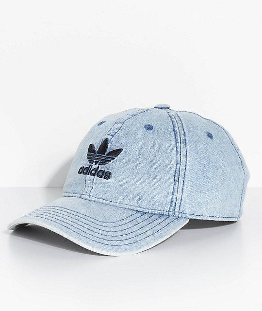 148da550d6edb2 adidas Men's Trefoil Blue Washed Denim Strapback Hat   Zumiez