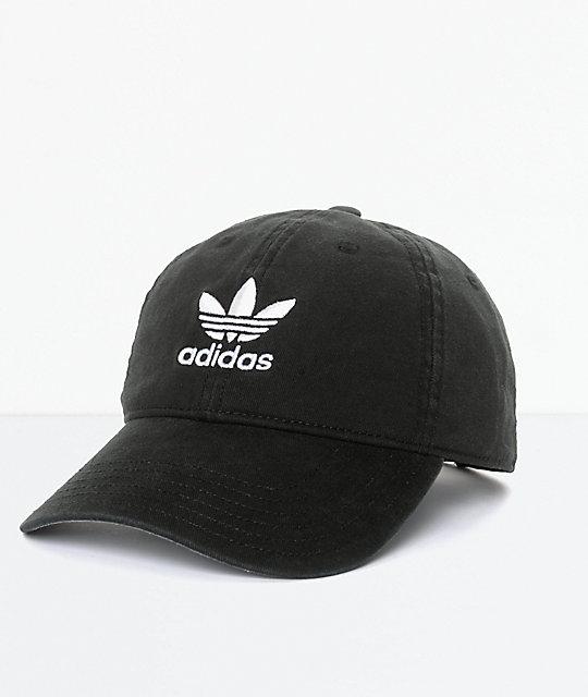 61b6457599 adidas Men's Trefoil Curved Bill Black Strapback Hat | Zumiez