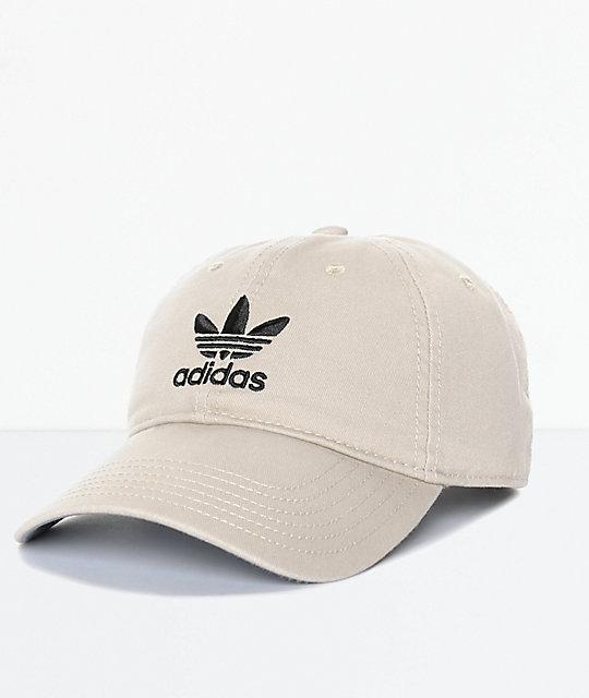 aa7dfa1627 adidas Men's Trefoil Curved Bill Khaki Strapback Hat | Zumiez