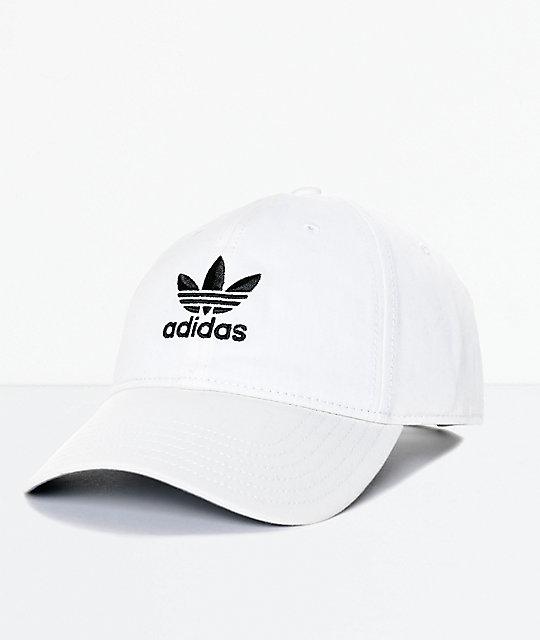 84da8bcdd67694 adidas Men's Trefoil Curved Bill White Strapback Hat   Zumiez