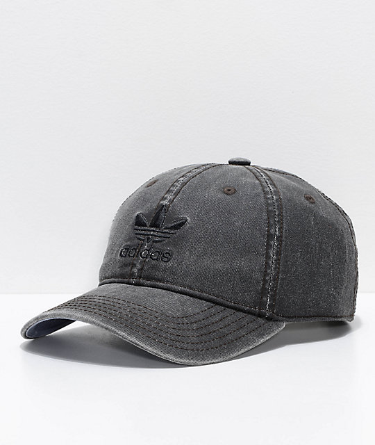 ebfe99daad1ffd adidas Original Relaxed Washed Black Strapback Hat | Zumiez