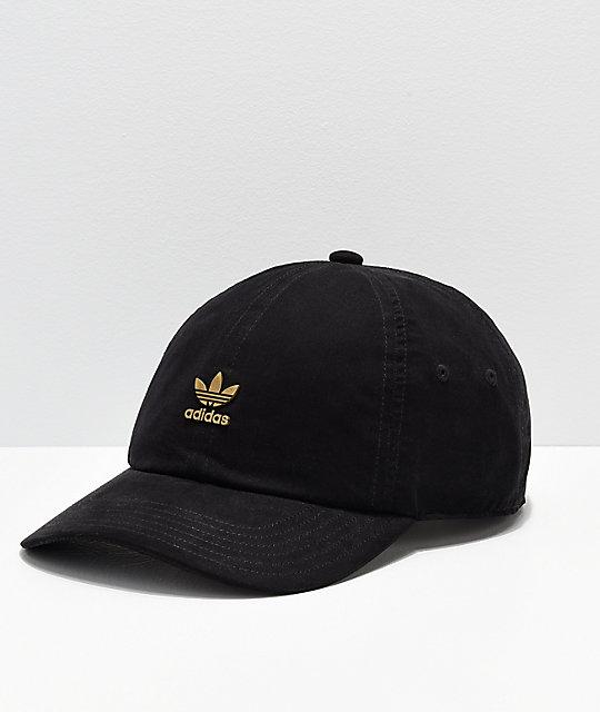 908803e66034e1 adidas Originals Relaxed Metal Black & Gold Strapback Hat | Zumiez