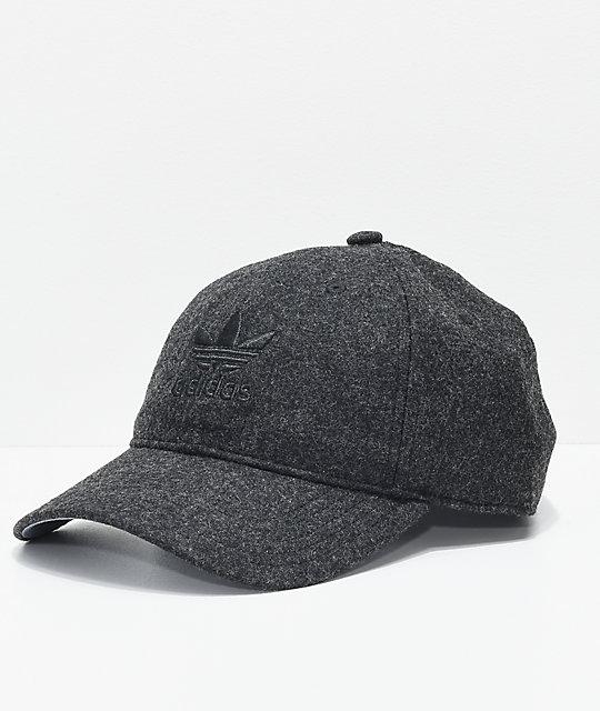 ae28e0099077f adidas Originals Relaxed Plus Black & Black Strapback Hat | Zumiez