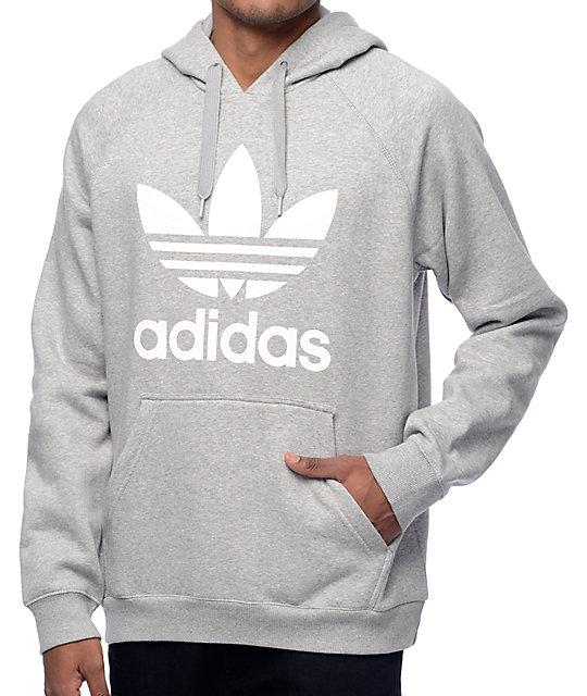 6880302f adidas Originals Trefoil Heather Grey Hoodie | Zumiez