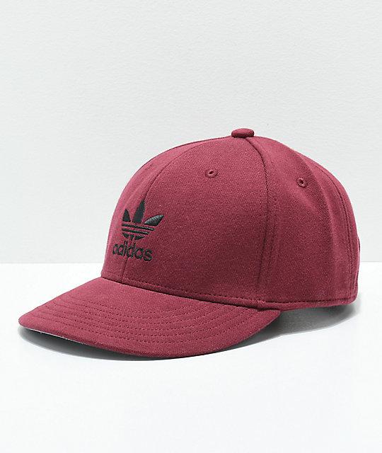 d313bd120d7963 adidas Originals Trefoil Mixed Burgundy Snapback Hat | Zumiez
