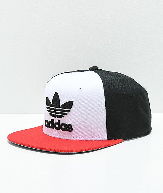 f06be3b9ffc56f adidas Originals Trefoil White, Black & Red Snapback Hat | Zumiez