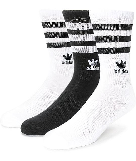 5207ba8c5 adidas Roller Black & White 3 Pack Crew Socks | Zumiez
