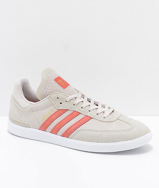 f77765c5e adidas Samba ADV Grey, Pink & White Shoes   Zumiez