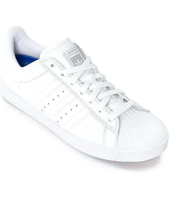 best service 0f7f7 f7077 adidas Superstar Vulc ADV All White Shoes