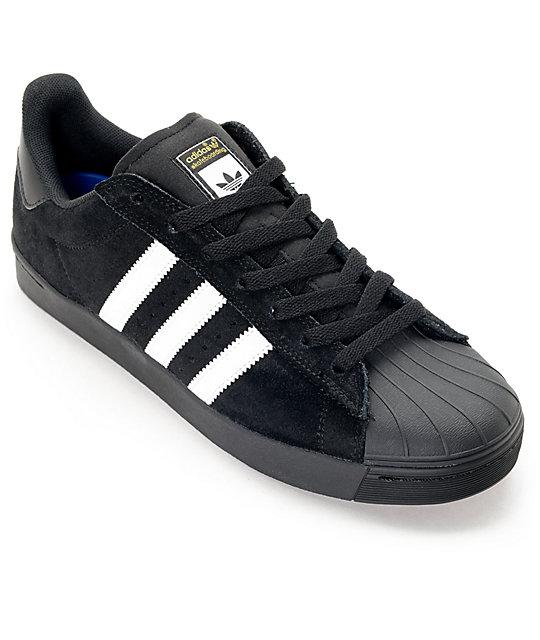 best website e6708 4ced0 adidas Superstar Vulc ADV Black Suede & White Shoes