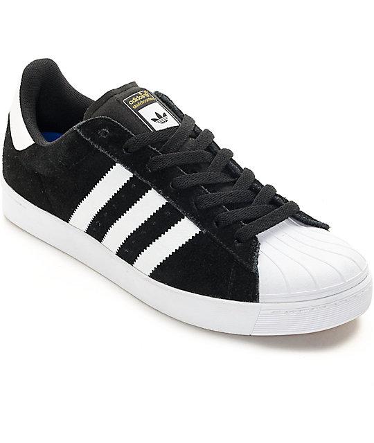 c8e101fcab adidas Superstar Vulc ADV zapatos de skate negros y blancos   Zumiez
