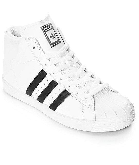 best website 2550d c585d adidas Superstar Vulc Mid White   Black Shoes   Zumiez