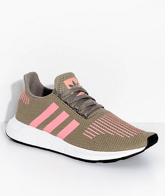 Adidas Adidas Originals Swift Run Sneakers In Khaki With Pink Stripe