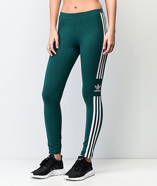 bd19b9285858e4 adidas Trefoil Collegiate Green & White Leggings   Zumiez