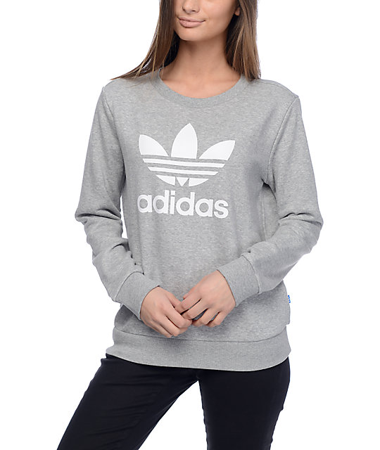 375a88f4 adidas Trefoil Heather Grey Crew Sweatshirt | Zumiez