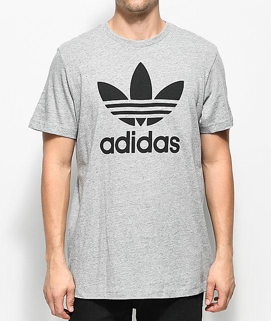 0766fc00b1339a adidas Trefoil Heather Grey T-Shirt | Zumiez