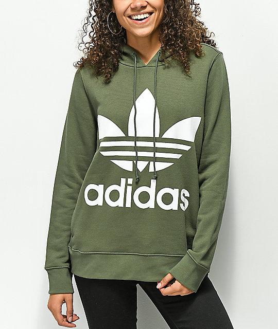 e094ddb1 adidas Trefoil Logo Green Hoodie | Zumiez