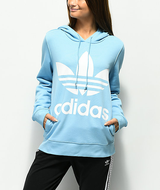 adidas Trefoil Logo Light Blue Hoodie