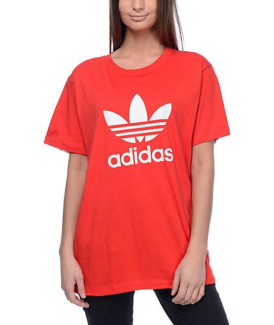 5336a96e7693 adidas Trefoil Red Printed Back T-Shirt   Zumiez