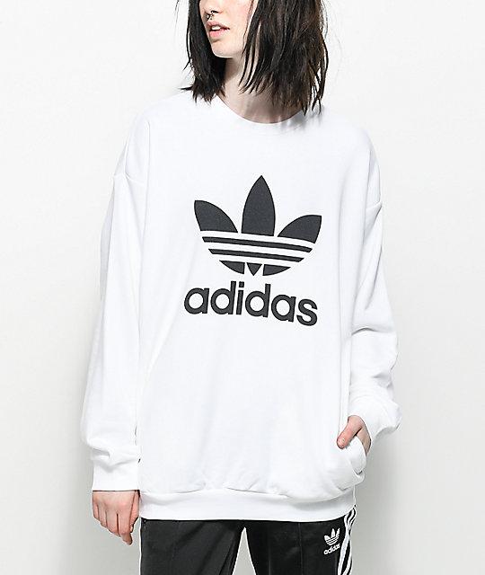 1127d298 adidas Trefoil White Oversized Crew Neck Sweatshirt | Zumiez