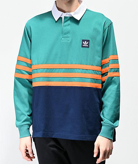 wholesale dealer bed82 ae4f5 adidas Winchell Green, Navy & Orange Long Sleeve Polo Shirt