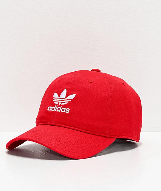 514848041 adidas Women's Originals Relaxed Red & White Strapback Hat | Zumiez