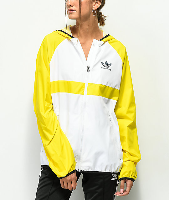 premium selection c7536 fb443 adidas Yellow   White Windbreaker Jacket   Zumiez