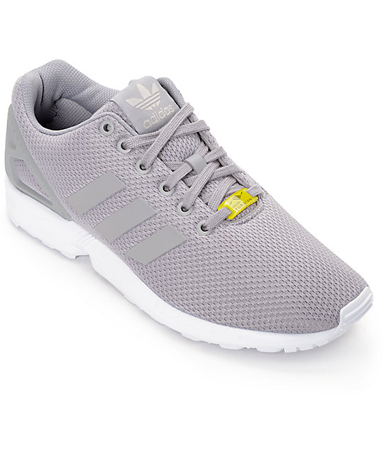 reputable site 79cb1 86e14 adidas ZX Flux Granite Grey & White Shoes