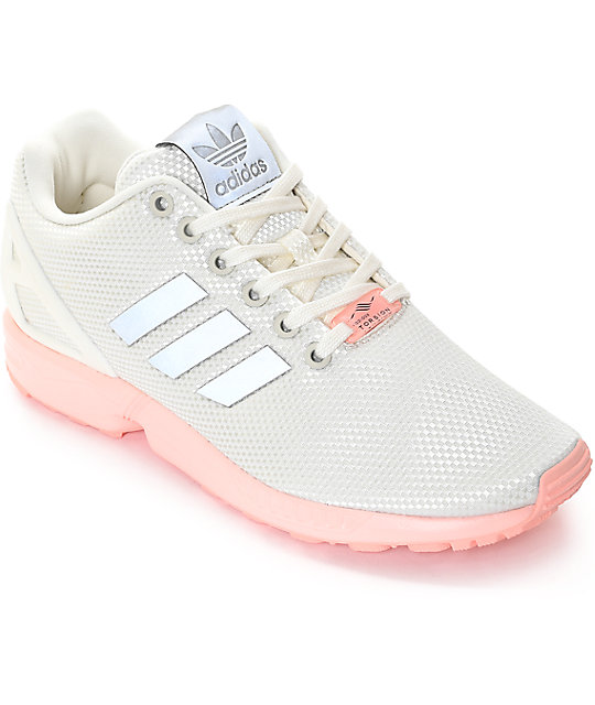 brand new 749a3 eac29 adidas ZX Flux White & Pink Shoes