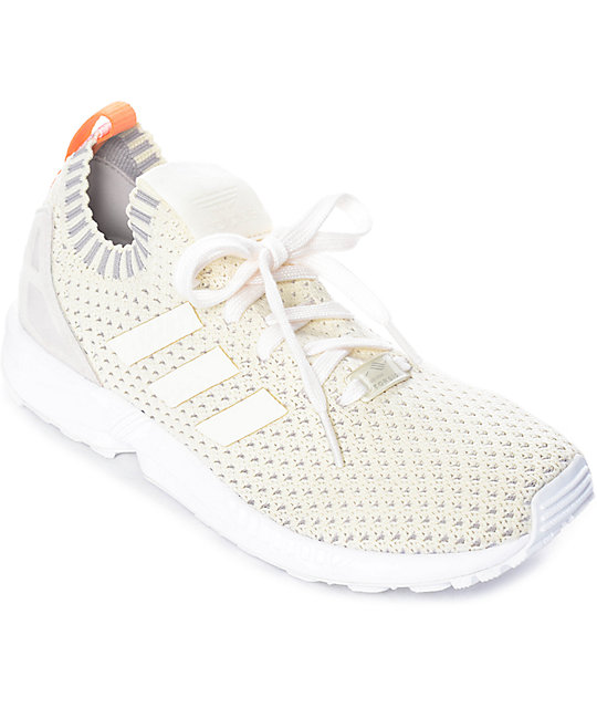 detailing cb3aa 71370 adidas ZX Flux White Primeknit Shoes