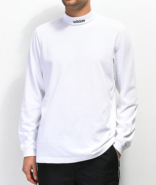 Larga Manga Blanca Adidas Camiseta De Cuello Alto K1lJTFc3