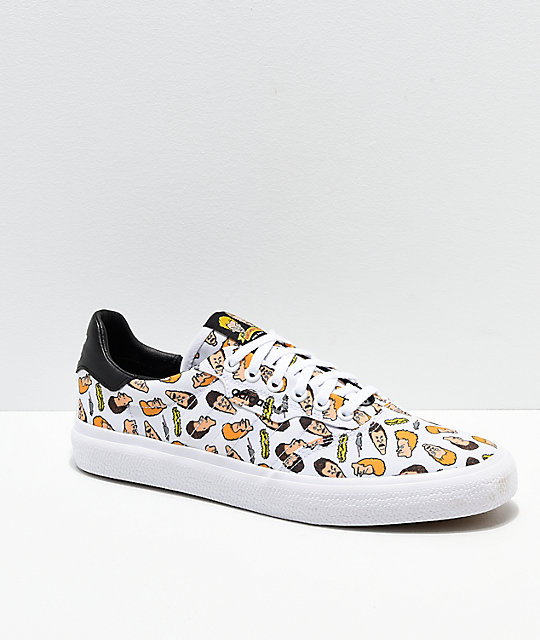 new style bb9b1 d974d adidas x Beavis & Butthead 3MC White Skate Shoes