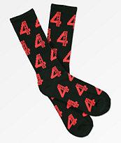 4 Hunnid Logo calcetines en rojo y negro
