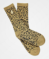 40s & Shorties Leopard Olive Crew Socks