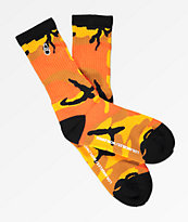 40s & Shorties Scribble Bottle Orange Camo Crew Socks