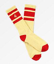 4Hunnid Large 4 Cream & Red Crew Socks