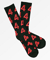 4Hunnid Logo Red & Black Crew Socks