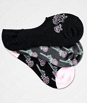 A-Lab 3 Pack Roses Black No Show Socks