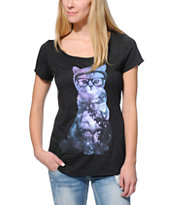 A-Lab Cosmic Cat Charcoal Scoop Neck T-Shirt