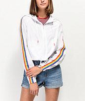 A-Lab Jadia Rainbow Taping White Windbreaker Jacket