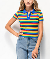 A-Lab Matilda Rainbow Stripe Crop Polo T-Shirt