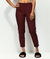 Almost Famous Burgundy Stripe Crop Pants