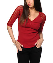 Almost Famous Lace Sleeve Henley Raglan Top