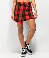 Almost Famous O-Ring Red Plaid Mini Skirt