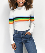 Almost Famous Rainbow Stripe White Sweater