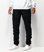 American Stitch Black Cargo Moto Twill Bungee Jogger Pants
