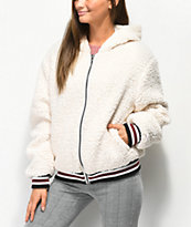 Angel Kiss Sherpa White Zip Up Jacket