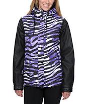 Aperture Girl Fakie Zebra Purple 10K Snowboard Jacket