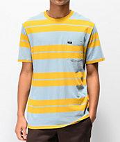 Brixton Hilt camiseta de rayas doradas y azules con bolsillo