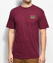 Brixton Normandie camiseta en color borgoño